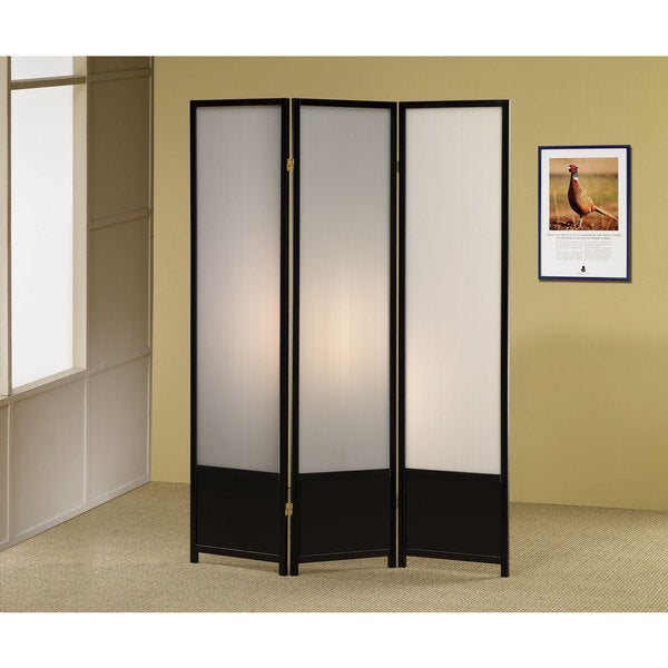 Coaster Company Black Translucent 3 Panel Folding Screen