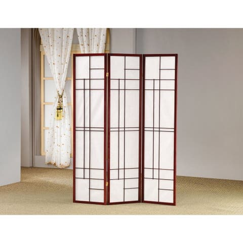 "Coaster Company Cherry Wood/Fabric Geometric Folding 3-panel Screen - 52"" x 0.75"" x 70.25"""