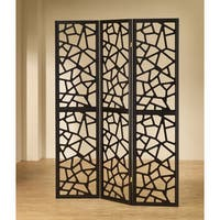 Coaster Company Black Wood Mosaic Folding Screen