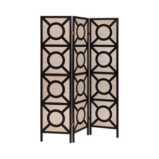 Coaster Company Cappuccino Wood Circle Pattern Folding Screen