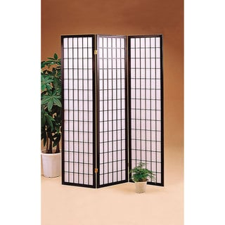Black Fabric and WoodFolding Three Panel Screen
