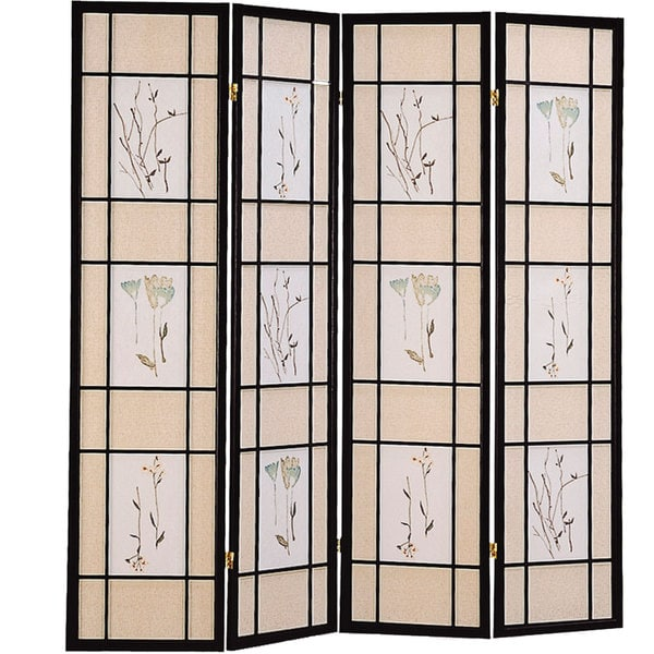Coaster Company Black Floral Motif 4-panel Folding Screen