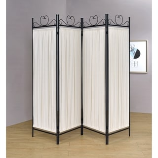 Coaster Company Black Fabric Metal Four Panel Folding Screen