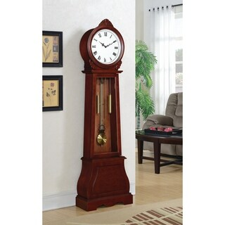 Coaster Company Rich Brown Wood Simple Grandfather Clock with Chime