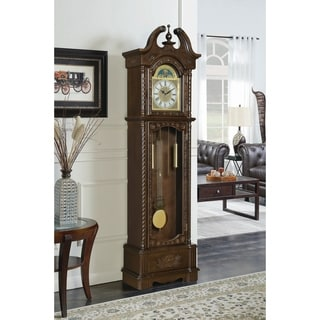 Coaster Dark Brown Wood Traditional Grandfather Clock With Chime