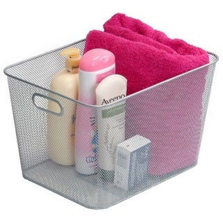 Stainless Steel Mesh Open Storage Basket with handles