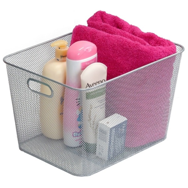 Stainless Steel Mesh Open Storage Basket with handles. Opens flyout.