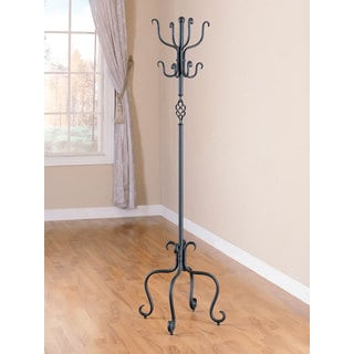 "Coaster Company Coastal Black Metal Coat Rack with Umbrella Stand - 21.50"" x 21.50"" x 69"""