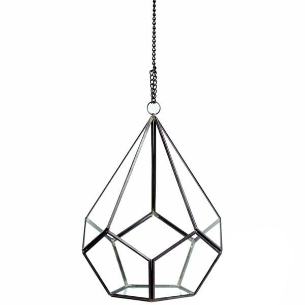 Black Copper and Glass 7-inch x 8.75-inch Undecahedron Tear Drop Geometric Terrarium