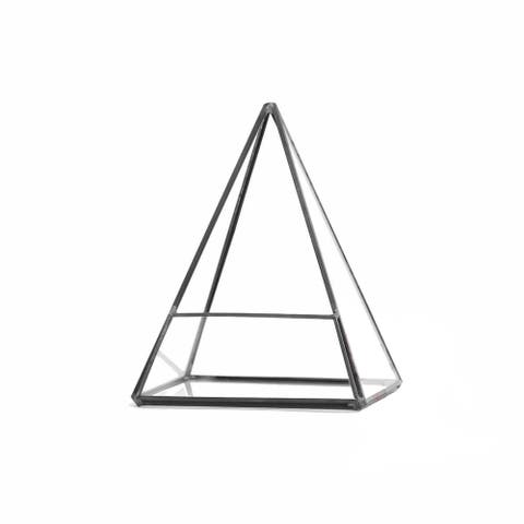 Pentahedron Pyramid Black Copper and Glass 5.5-inch x 7.5-inch Geometric Terrarium