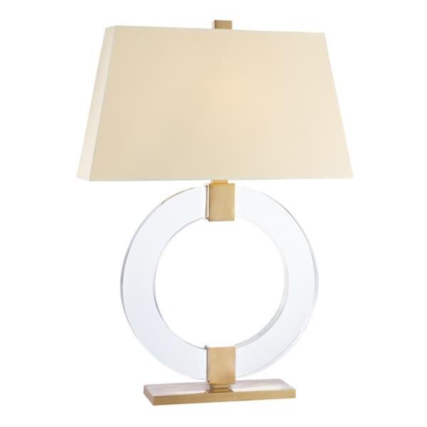 Hudson Valley Roslyn 1-light 24-inch Aged Brass Table Lamp, Cream