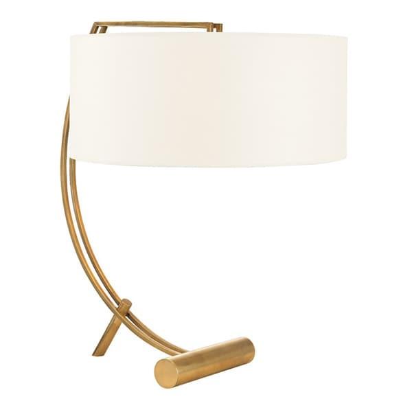Hudson Valley Deyo 2-light Aged Brass Table Lamp, White
