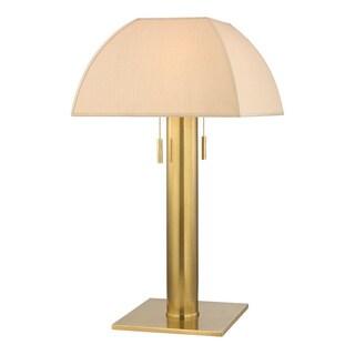 Hudson Valley Alba 2-light Aged Brass Table Lamp, Natural Silk