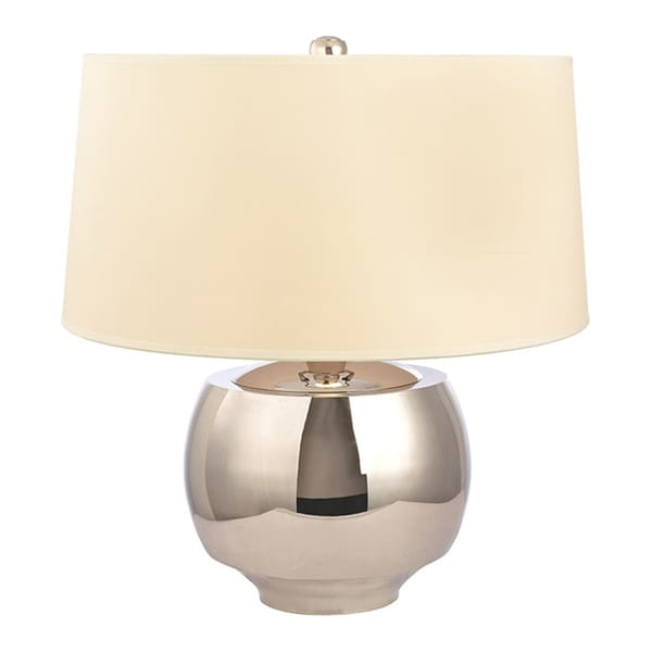 Hudson Valley Holden 1-light 20-inch Polished Nickel Table Lamp, Cream