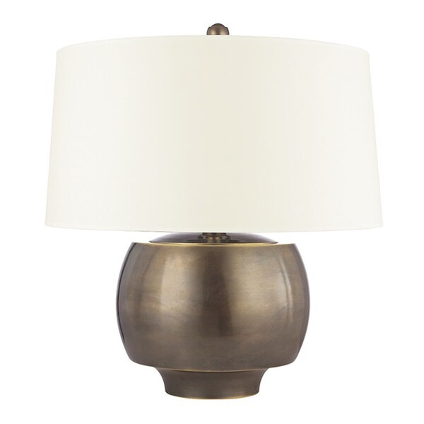 Hudson Valley Holden 1-light 20-inch Distressed Bronze Table Lamp, White