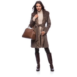 Ellen Tracy Faux Fur and Wool Overcoat Size 10 in Taupe(As Is Item)