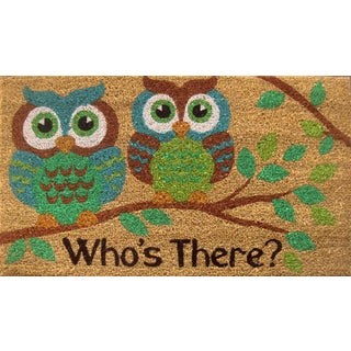 Home Dynamix Fiesta Collection 'Who's There' Brown Coir Mat (2' x 3')