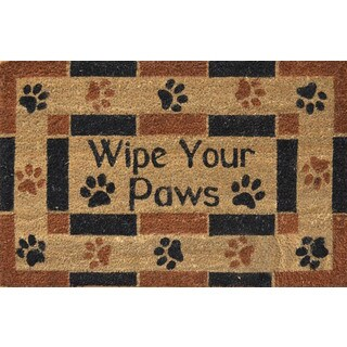 Home Dynamix Fiesta Collection 'Wipe Your Paws' Brown Coir Mat (2' x 3')