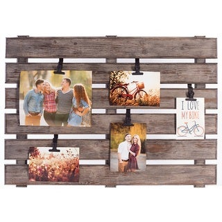 Burnes of Boston Grey Wood Large Pallet Photo and Memo Holder with Adjustable Clip
