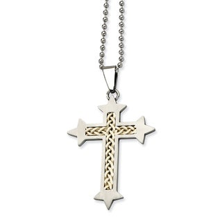 Chisel White Stainless Steel Silver Inlay Cross Pendant 24-inch Necklace