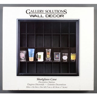 Gallery Solutions Black Wood Decorative Wall Shot Glass Case