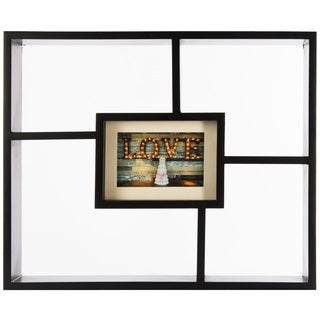 Gallery Solutions Window Pane Black Wood Decorative Wall Shadowbox