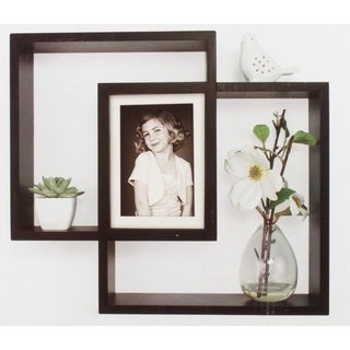 Gallery Solutions Black Wood Decorative Wall Intersecting Shadowbox