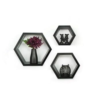 Gallery Solutions Black Wood Decorative Wall Hexagon Ledges (Black)