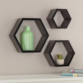 Gallery Solutions Black Wood Decorative Wall Hexagon Ledges