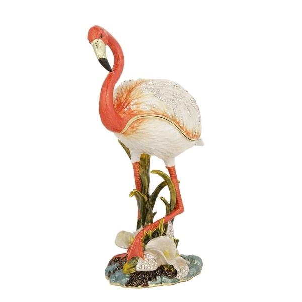 Pink Pewter, Swarovksi Crystals, Enamel Flamingo Trinket Box