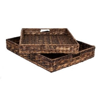 BirdRock Home Brown Woven Seagrass Serving Trays (Set of 2)