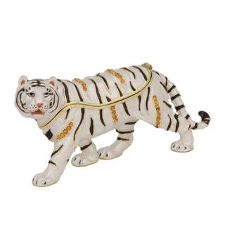 White Bengal Tiger Pewter, Enamel and Swarovski Crystals Trinket Box