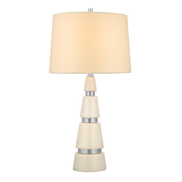 Hudson Valley Modena 1-light 25-inch Polished Nickel Marble Table Lamp, Cream