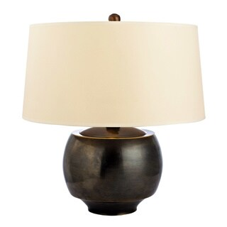 Hudson Valley Holden 1-light 15-inch Distressed Bronze Table Lamp, Cream