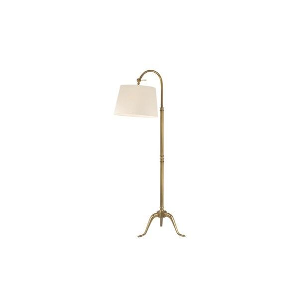Hudson Valley Burton 1-light 60-inch Vintage Brass Floor Lamp, White