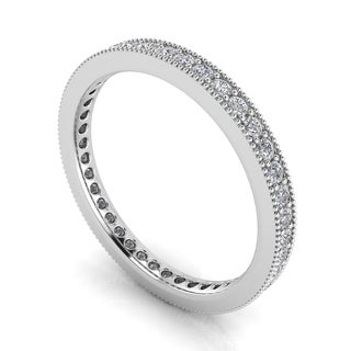 Platinum 5/8ct TDW Round-cut Diamond Pave and Milgrain-set Eternity Ring