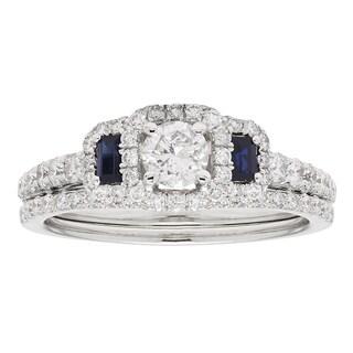Sofia 14k White Gold 3 4ct TDW IGL Certified Round Diamond Bridal Set