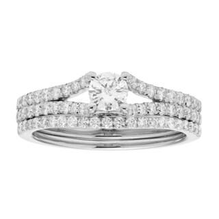 Sofia 14k White Gold 1ct TDW IGL Certified Round Diamond Bridal Set (H-I, I1-I2)