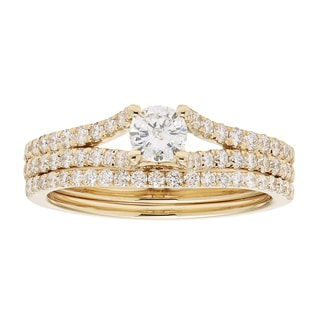 Sofia 14k Yellow Gold 1ct TDW IGL Certified Round Diamond Bridal Set