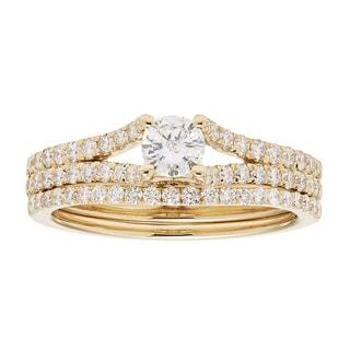 Sofia 14k Yellow Gold 1ct TDW IGL Certified Round Diamond Bridal Set (H-I, I1-I2)