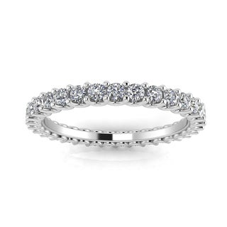 Platinum 1 2/5ct TDW Round-cut Diamond Shared Prong-set Eternity Ring