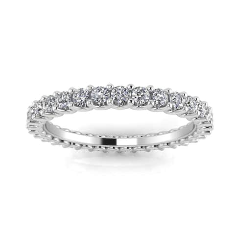 Platinum 1 2/5ct TDW Round-cut Diamond Shared Prong-set Eternity Ring - White
