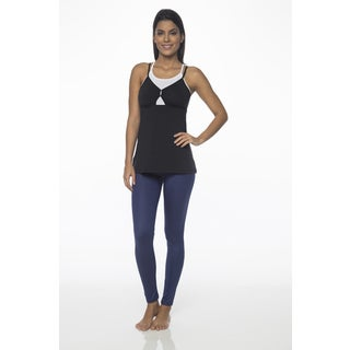 Be Up Black Polyester, Spandex Loose Layered Tank