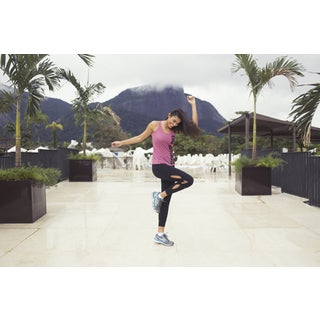 Black Polyester and Spandex Cutout Design Athletic Leggings