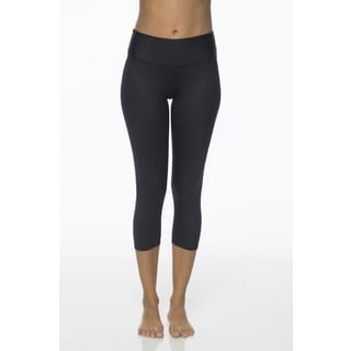 Be Up Women's Supreme Blue Black Polyester Spandex Leather Look Capris