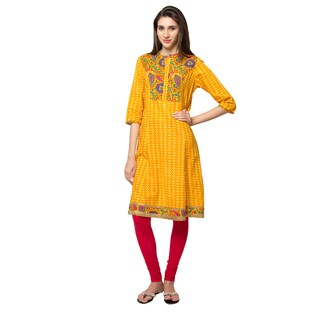 In-Sattva Ethnicity Women's Diamond Print Kurta Tunic with Colorful Paisley Yoke