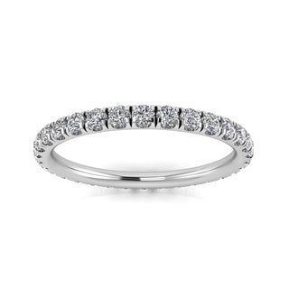 Round Brilliant Cut Diamond Split Prong Set Eternity Ring In Platinum - Ring Sizes 4-9 with 2.5MM Diamonds