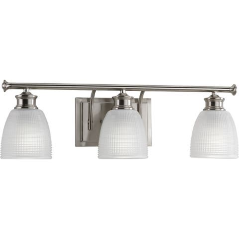 Lucky Collection 3-Light Brushed Nickel Frosted Prismatic Glass Coastal Bath Vanity Light