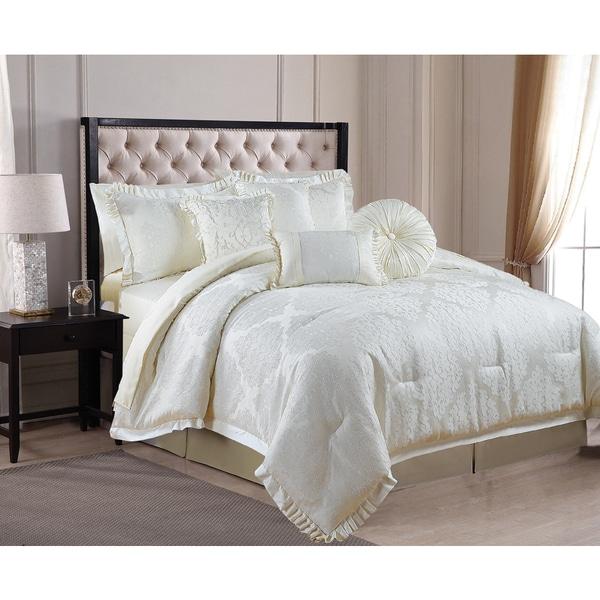 Verona 8-piece Luxurious Puckered Jacquard King-size Comforter Set