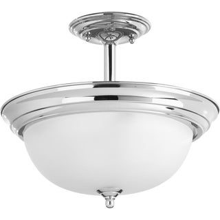 Progress Lighting Grey Porcelain/Steel Semi-flush Mount Convertible 2-light Dome Fixture